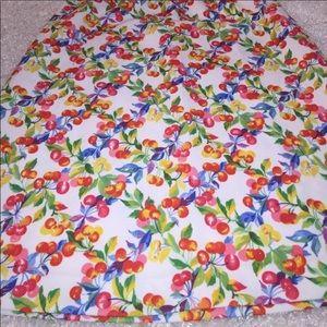 Vintage Cherries Print Polyester Pin-Up Skirt